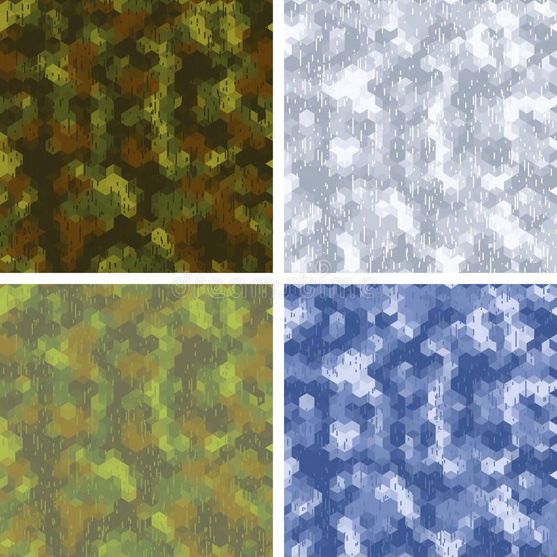 Seamless stylized camouflage patterns with stock illustration
