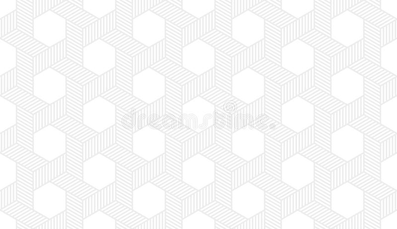 Seamless subtle gray hexagonal isometric op art revolving star with dotted fill pattern vector. Seamless subtle gray hexagonal isometric op art revolving star stock illustration