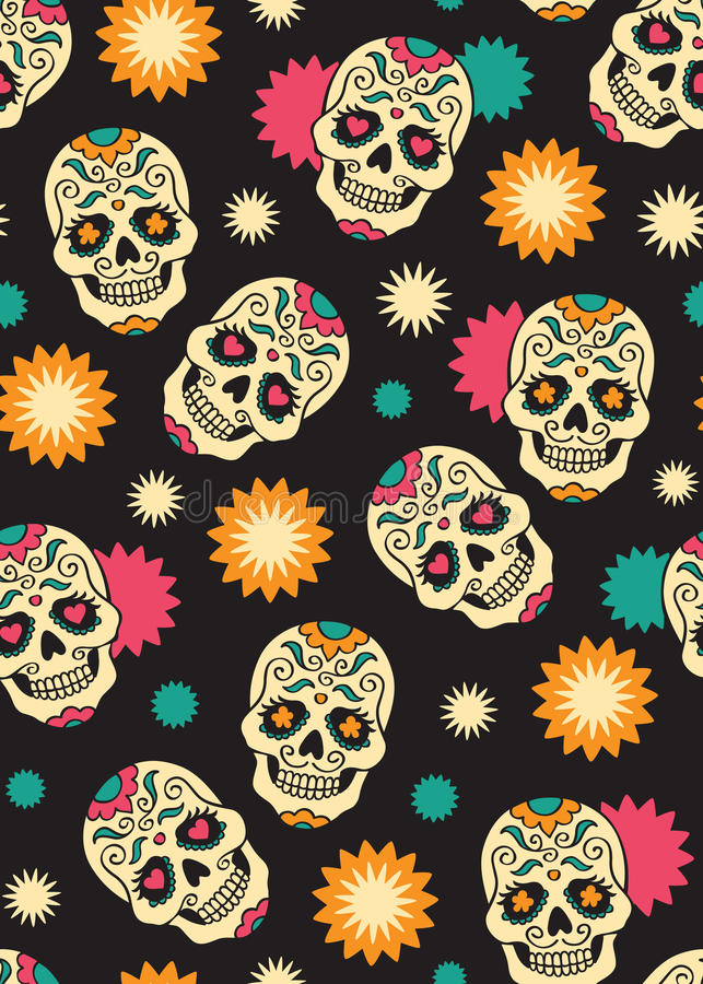 Seamless with sugar skulls. Seamless with mexican sugar skulls for day of the dead