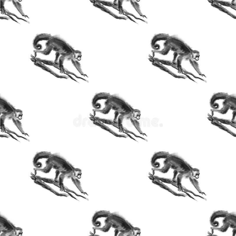 Seamless sumi-e monkey background. stock illustration