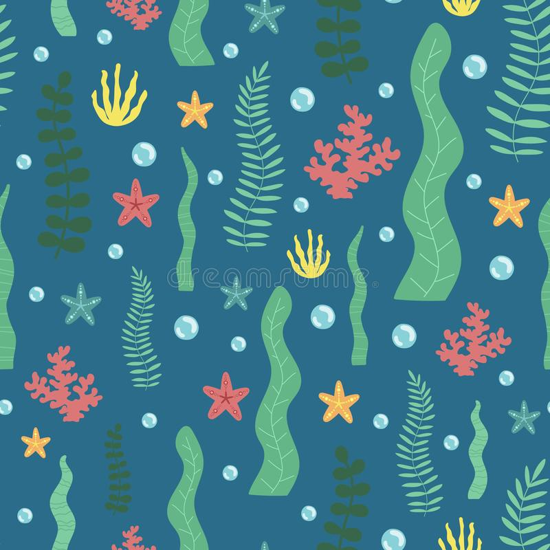 Seamless summer algae pattern on the dark background. Vector sea illustration for baby, holiday, print, card, clothes, birthday. stock illustration