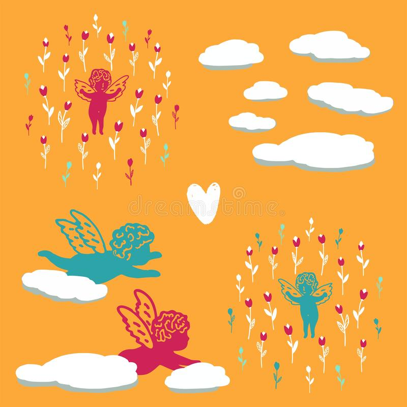 Seamless summer background with angels in flowers vector illustration
