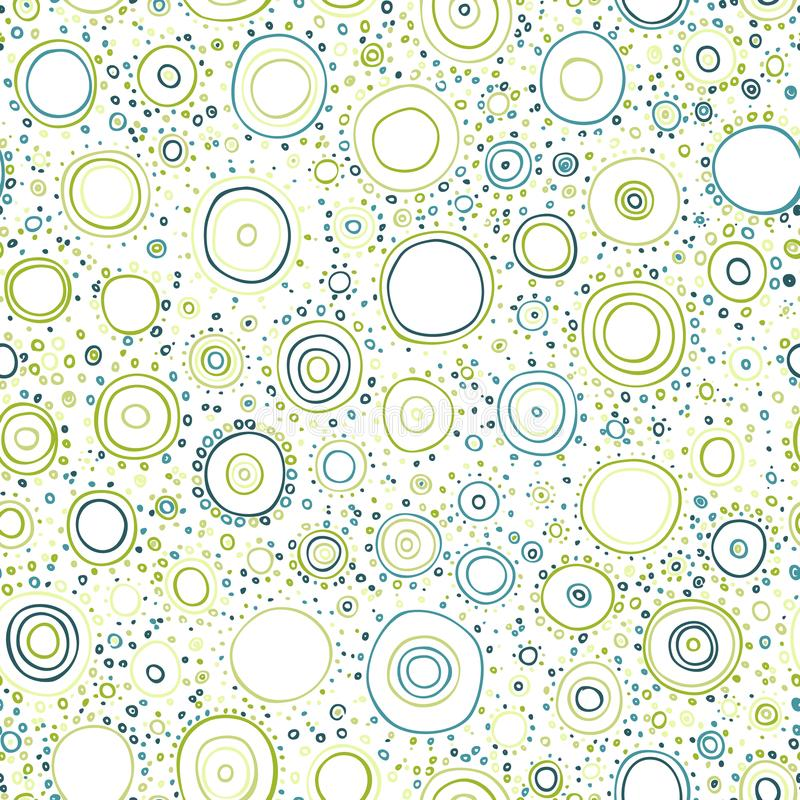 Seamless Summer Background with Doodle Circles Randomly Distributed stock illustration
