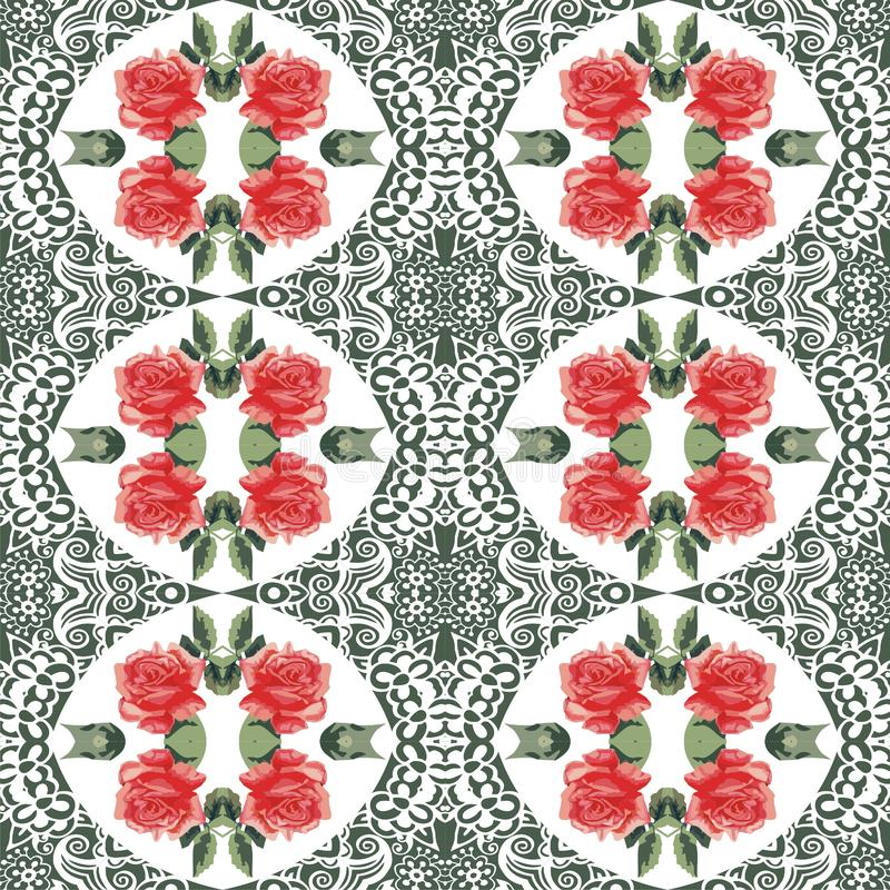 Seamless summer botanical flower roses and lace pattern. Style shabby chic, boho, provence. Red, green, white colors. royalty free illustration