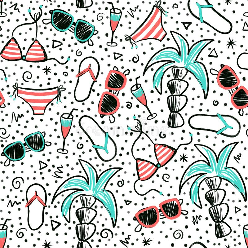 Seamless summer doodle pattern. Hand drawn cartoon style background with palm trees, sunglasses, bikini, flip flops.  stock illustration