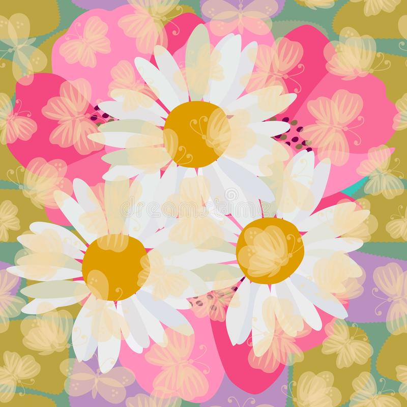 Free Seamless Summer Floral Pattern With Daisies And Poppies Flowers And Transparent Light Yellow Butterflies. Fabric For Swimsuit Royalty Free Stock Images - 139753149