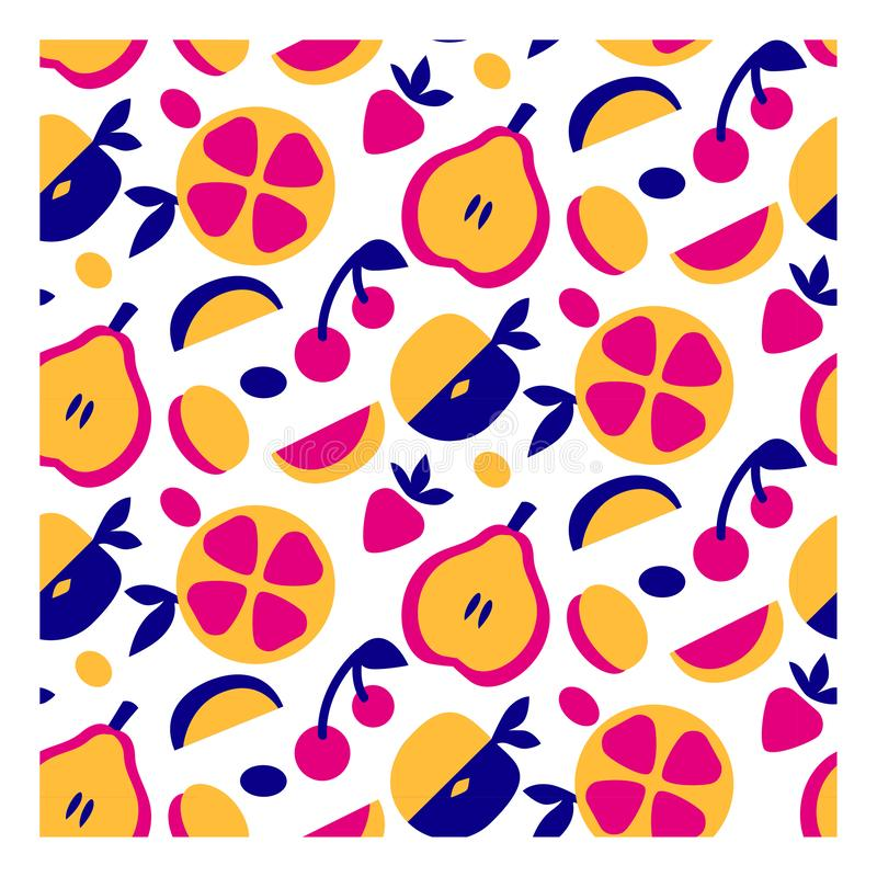 Seamless summer fruit pattern in modern simple style. design ornament background. colorful exotic decor for print vector illustration