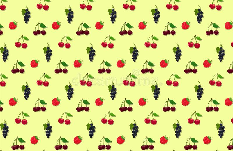 Seamless summer garden berries texture. vector background with raspberry, cherry, sweet cherries and black currant stock illustration