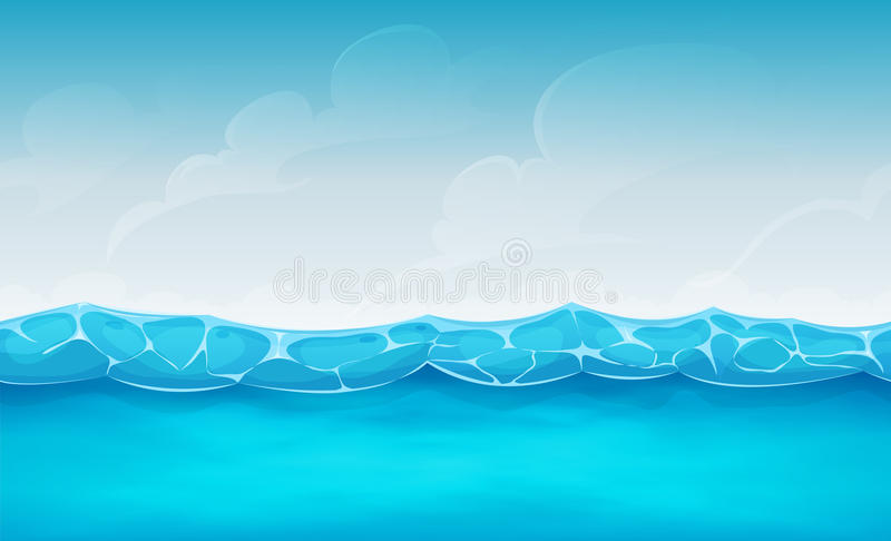 Seamless Summer Ocean Background For Ui Game royalty free illustration