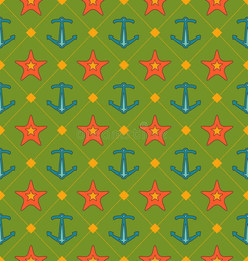 Seamless Summer Pattern with Anchor and Starfish. Vintage Texture royalty free illustration