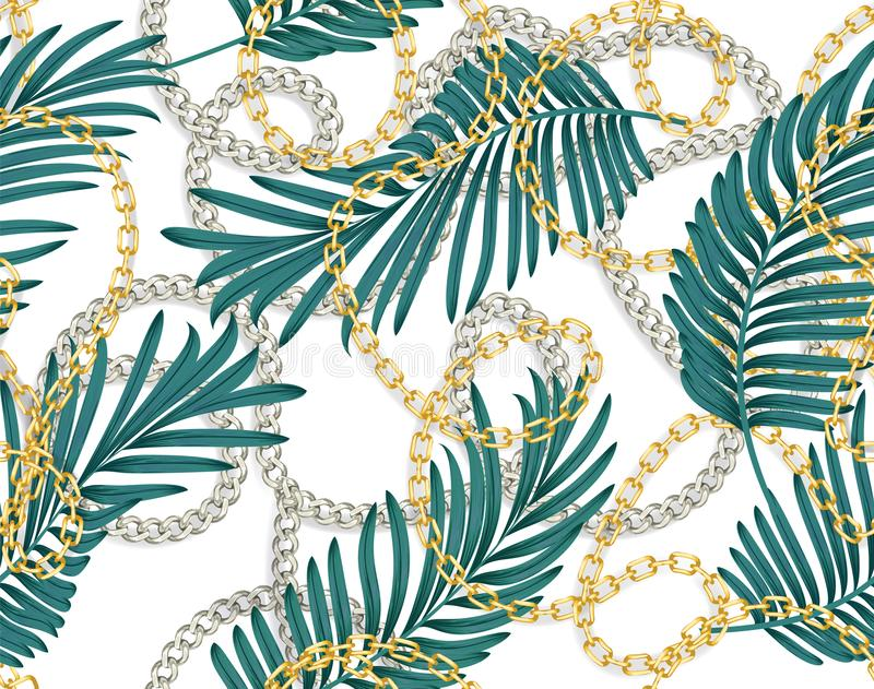 Seamless summer pattern with chains and tropical leaves. Tropical Seamless pattern. Trendy fashion print vector illustration