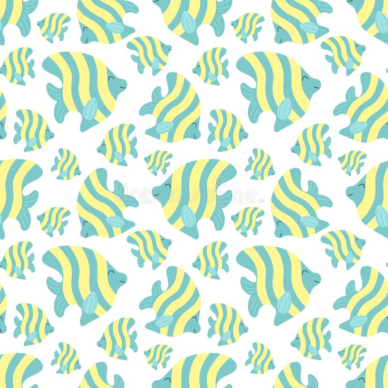 Seamless summer pattern with cute stripes fishes. Vector sea illustration for children, holiday, background, print, textile,. Fabric, baby, card, girl, boy vector illustration