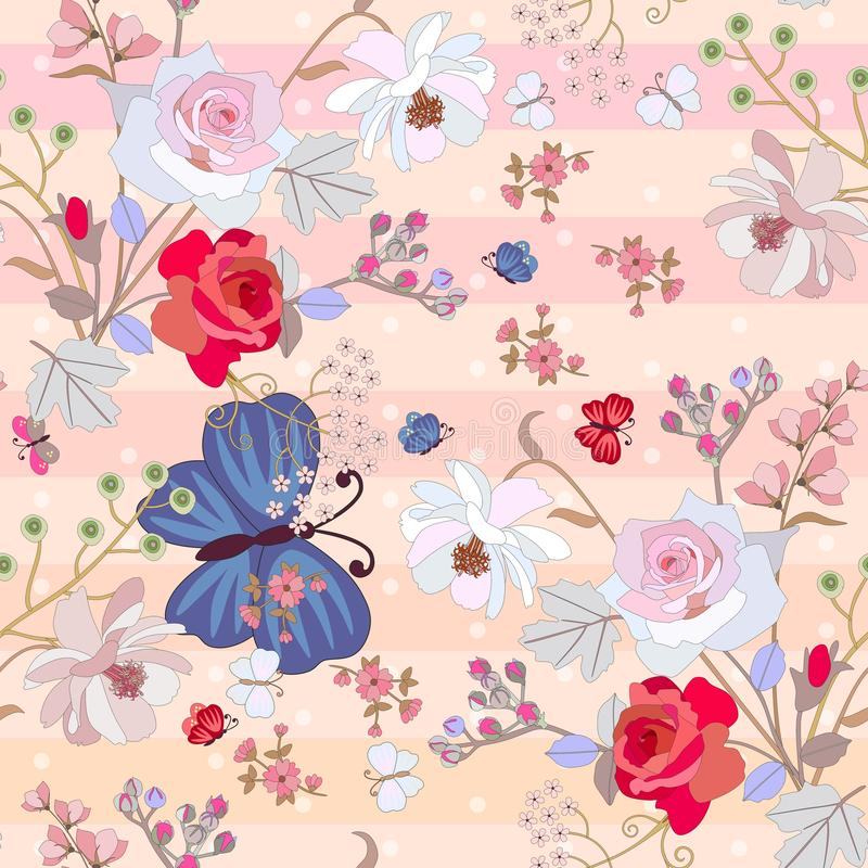 Seamless summer pattern with large blue butterfly , red and pink roses, cosmos and bell flowers on gentle striped background royalty free illustration