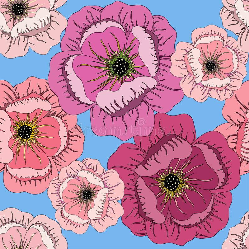 Seamless summer pattern with roses on blue stock illustration