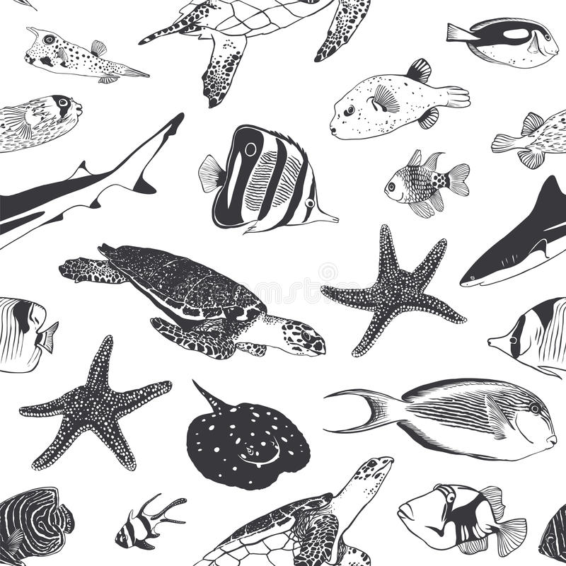 Seamless summer pattern. Sea and ocean inhabitants. Fish, turtle stock illustration