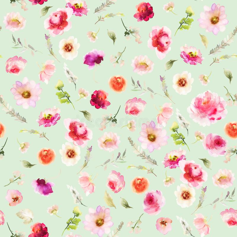 Seamless summer pattern with watercolor flowers vector illustration