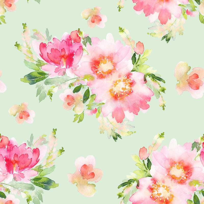 Seamless summer pattern with watercolor flowers stock illustration