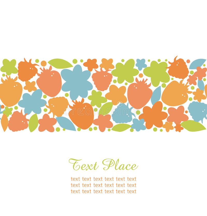 Free Seamless Summer Stripe With Berries, Flowers And Leafs Ornate Design Elements For Cute Cards, Banners, Borders Royalty Free Stock Photo - 31612045