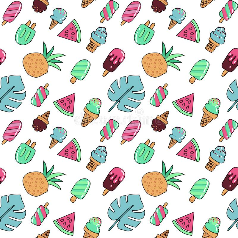 Seamless summer vacation icons pattern with ice cream, watermelon, pineapple and palm leaves. Vector hand drawn color outline royalty free illustration
