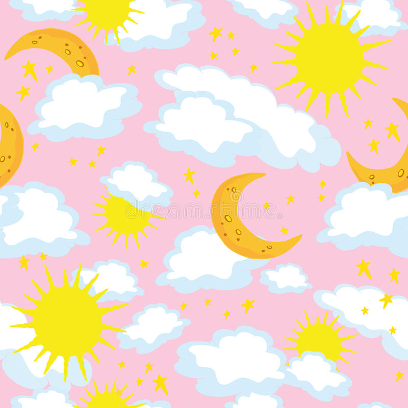 seamless sun för moon stock illustrationer
