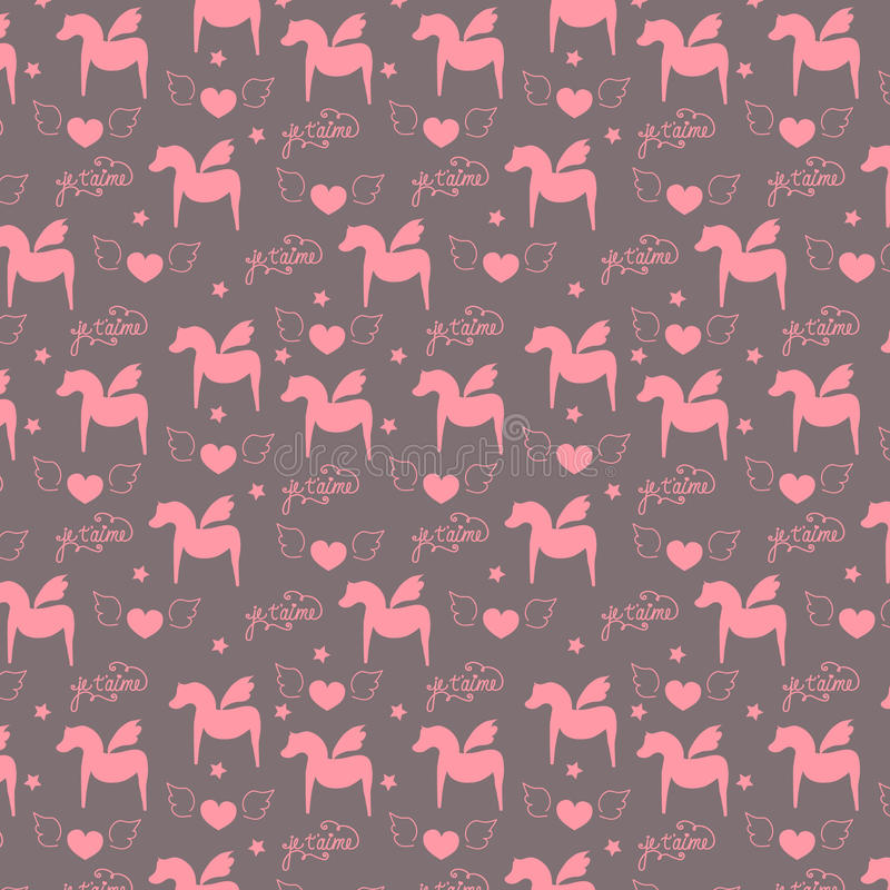 Seamless surface pattern, romantic, valentine, girlish, love pegasus horses with wings, heart, calligraphic lettering in french royalty free illustration