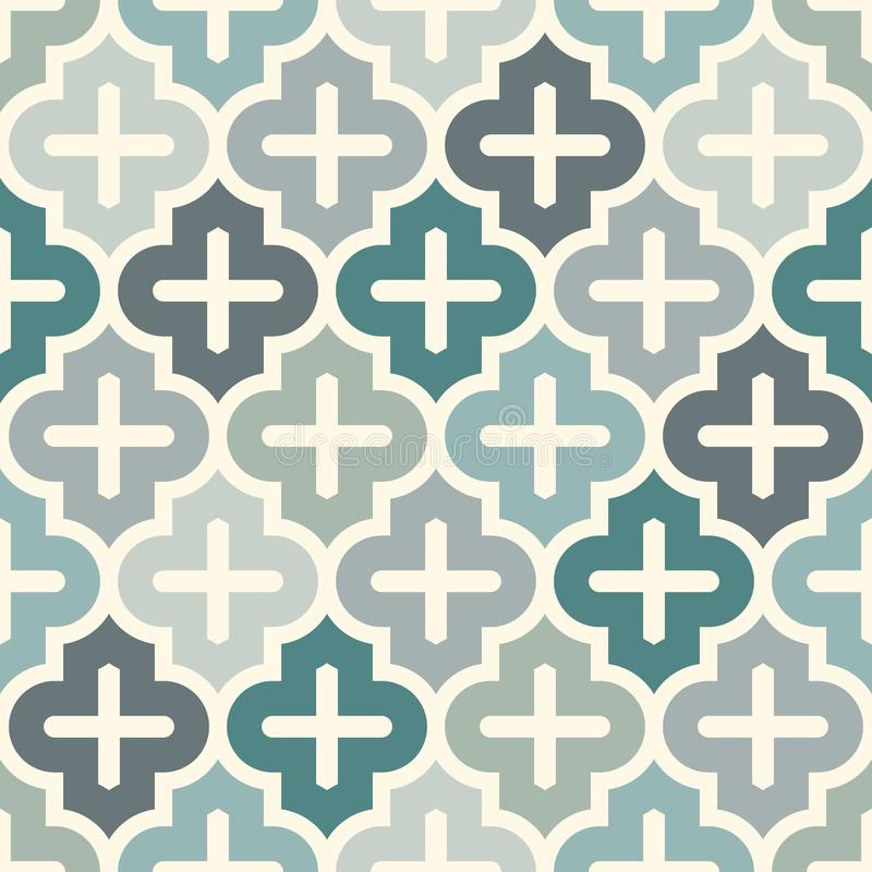 Seamless surface print with ogee ornament. Oriental traditional pattern with repeated mosaic tile Moroccan crosses motif. Seamless surface design with ogee vector illustration