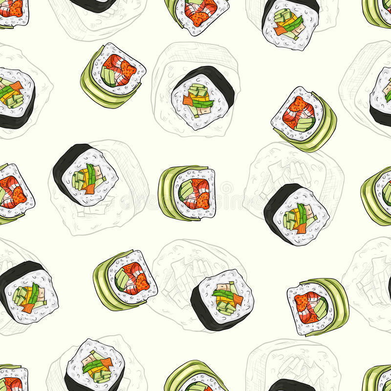 seamless sushi för modell vektor illustrationer