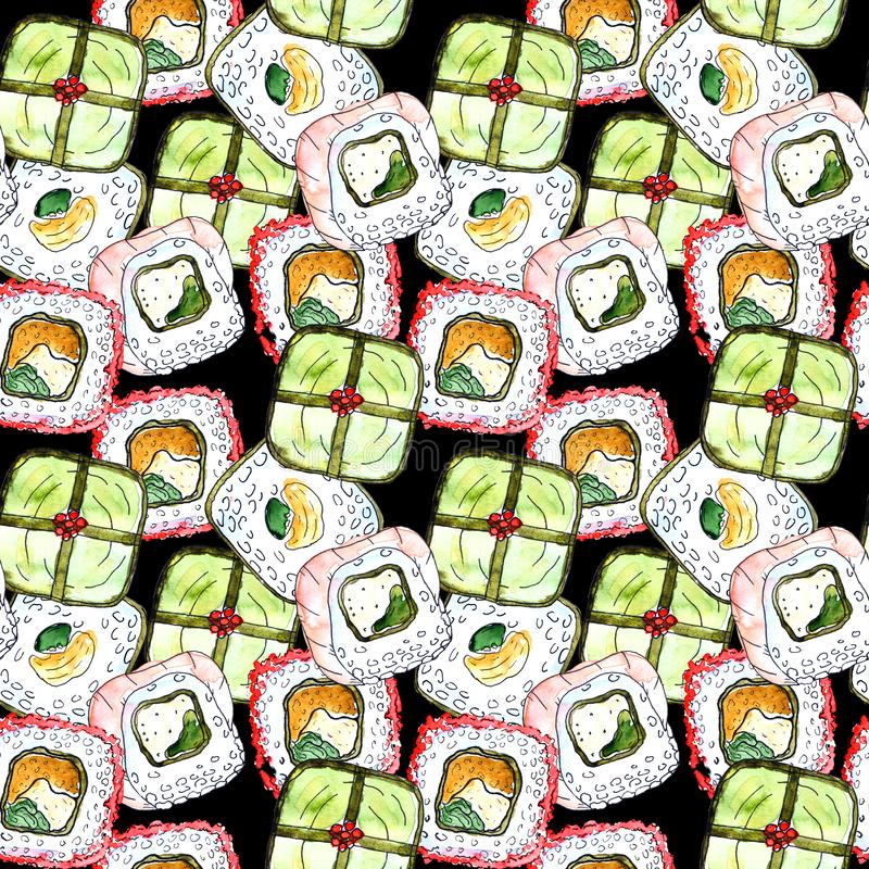 Seamless sushi pattern vector illustration