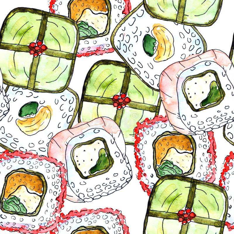 Seamless sushi pattern stock illustration