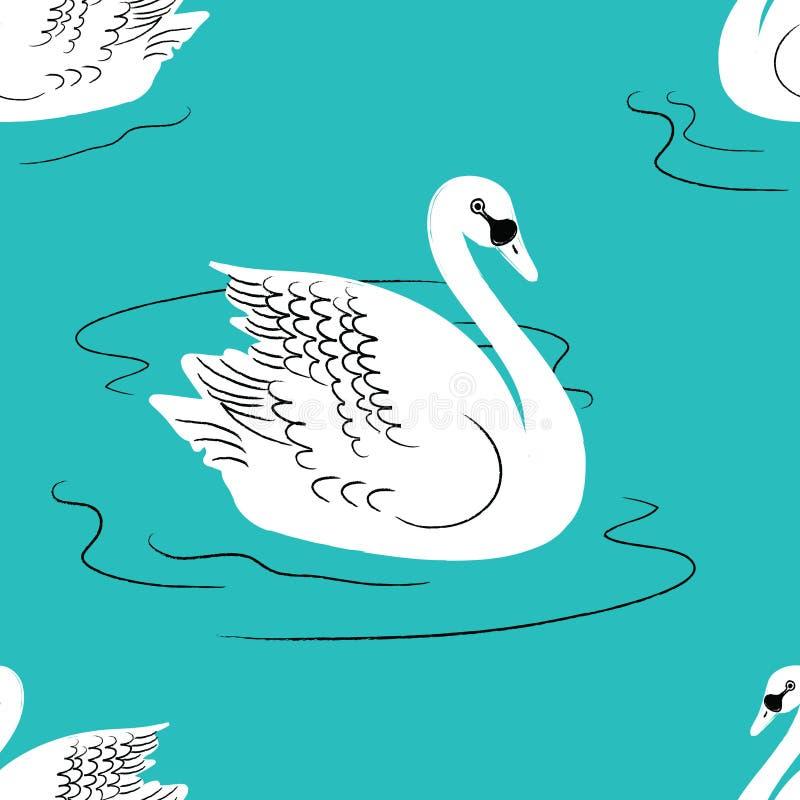 seamless swan för modell vektor illustrationer
