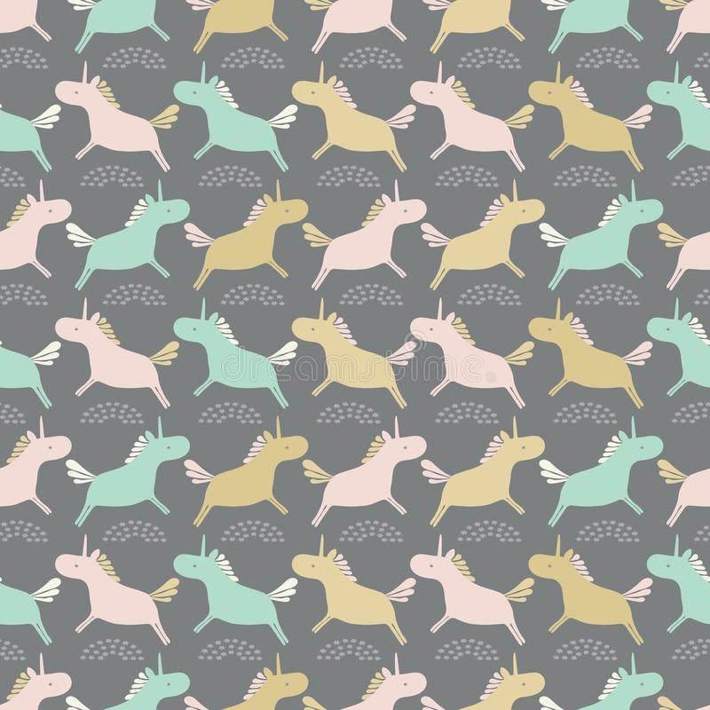 Seamless sweet pastel unicorns silhouette stripe vector repeat pattern background. Ideal for children and babies. Seamless sweet pastel unicorns silhouette royalty free illustration