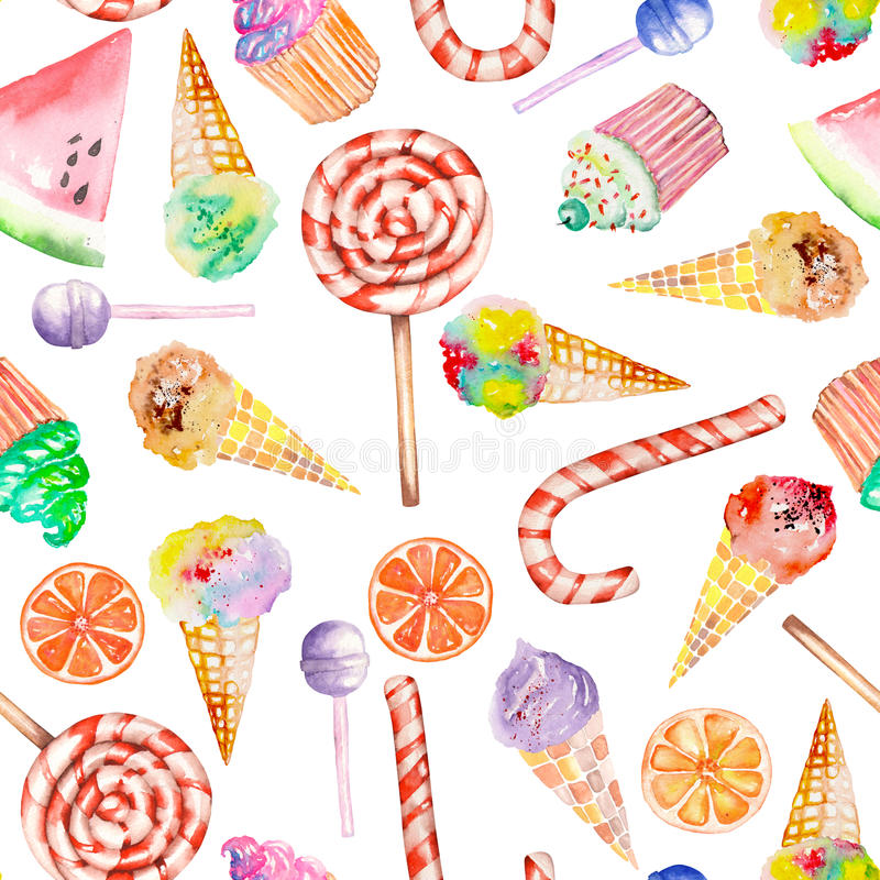 Seamless Pattern With Hand Drawn Watercolor Ice Cream: A Seamless Sweet Pattern With The Watercolor Lollipop