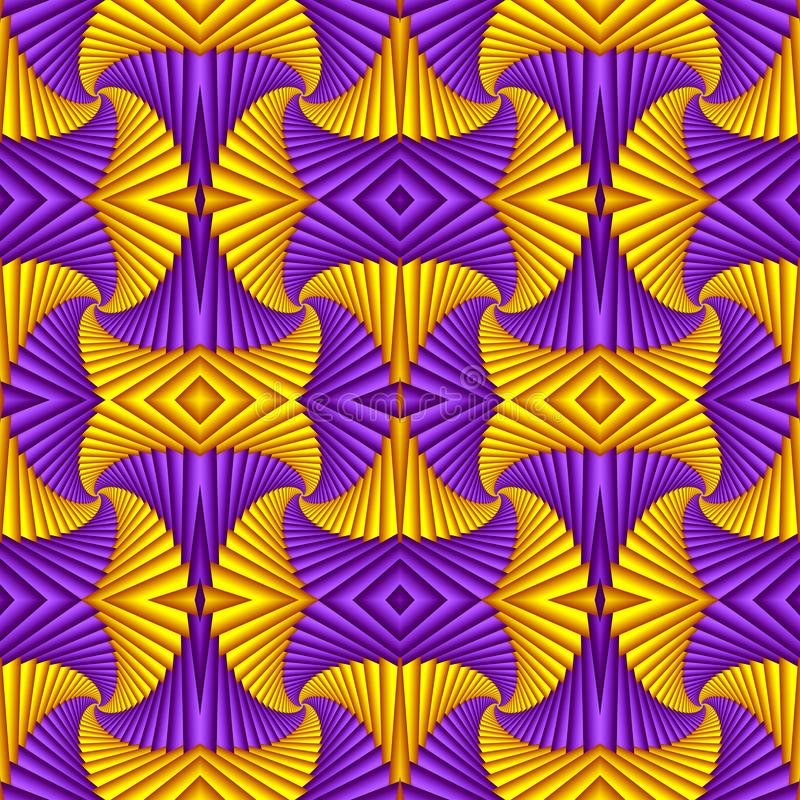 Seamless swirl abstract festive pattern, purple, yellow. Tiled pattern. Geometric mosaic. Great for tapestry, carpet, blanket, vector illustration