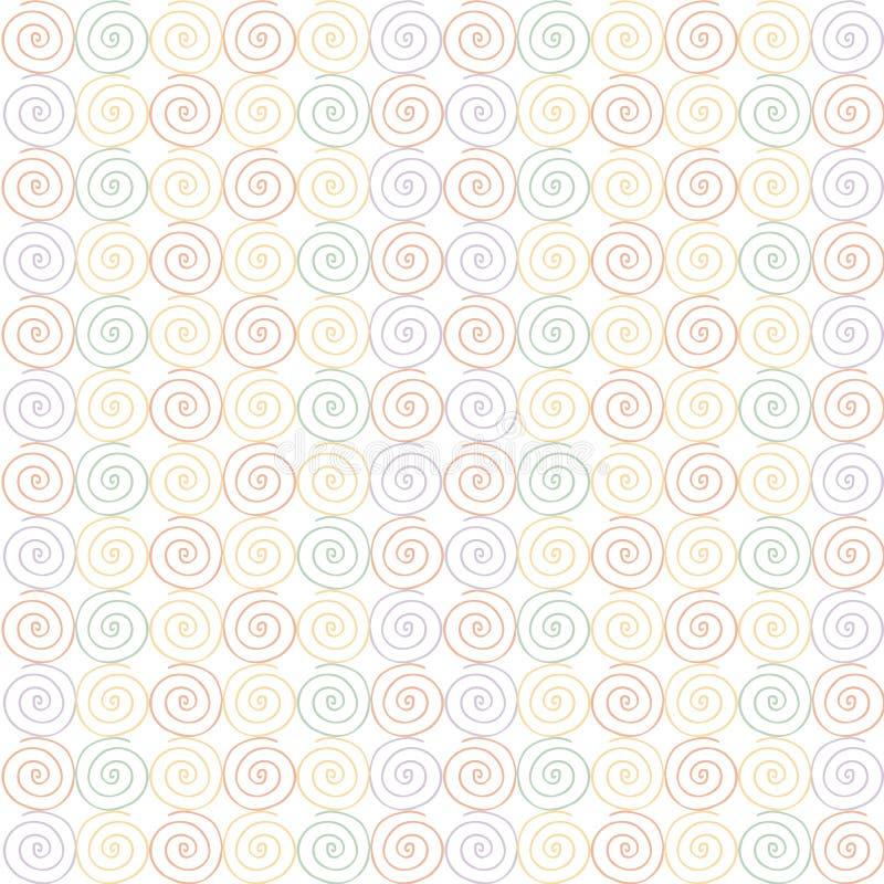 seamless swirl för modell apelsin som är röd gröna, gula violetta virvlar stock illustrationer
