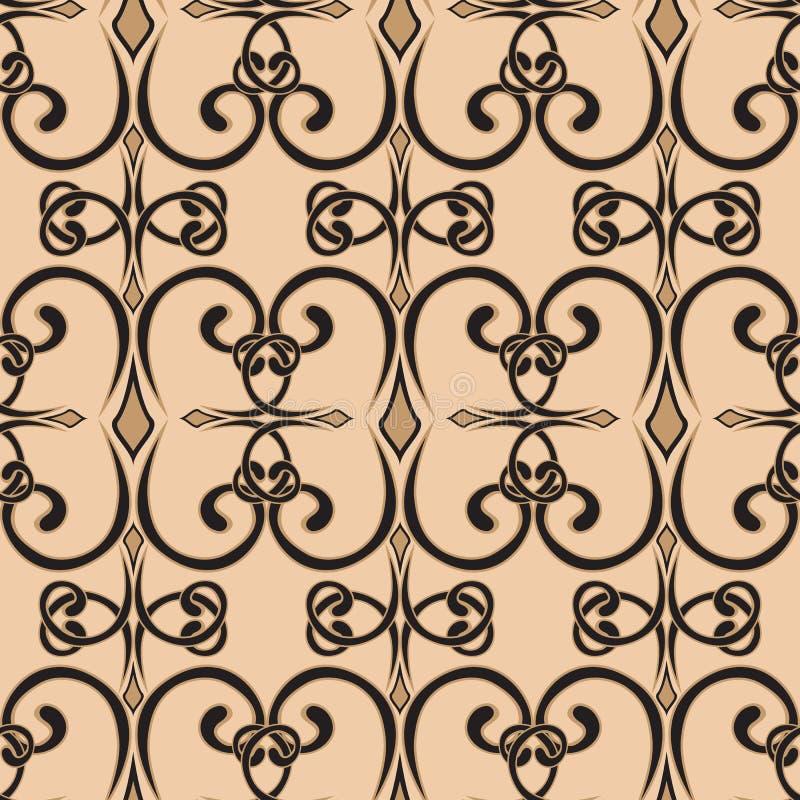 seamless swirl f?r modell I enkel stil vektor ?ndl?s krullningsprydnad Skissa, klottra, klottra p? bruna och gr?a f?rger Kan vara royaltyfri illustrationer
