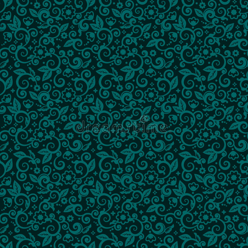 Seamless swirly floral background of dark turquoise winter holidays colors royalty free illustration