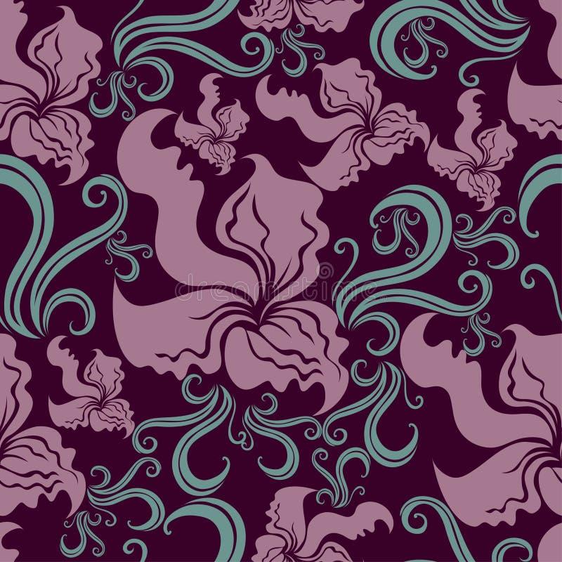seamless tappning för blom- grungeorchidmodell stock illustrationer