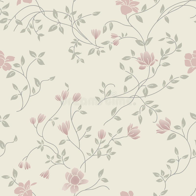 seamless tappning för blom- ljus modell royaltyfri illustrationer