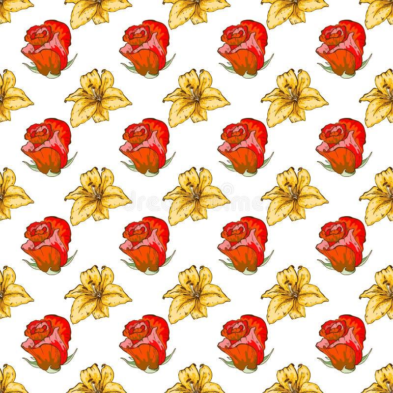 seamless tappning för blom- modell Härliga ros- och liljablommaknoppar på en vit Utdragen vektorbakgrund för abstrakt hand vektor illustrationer
