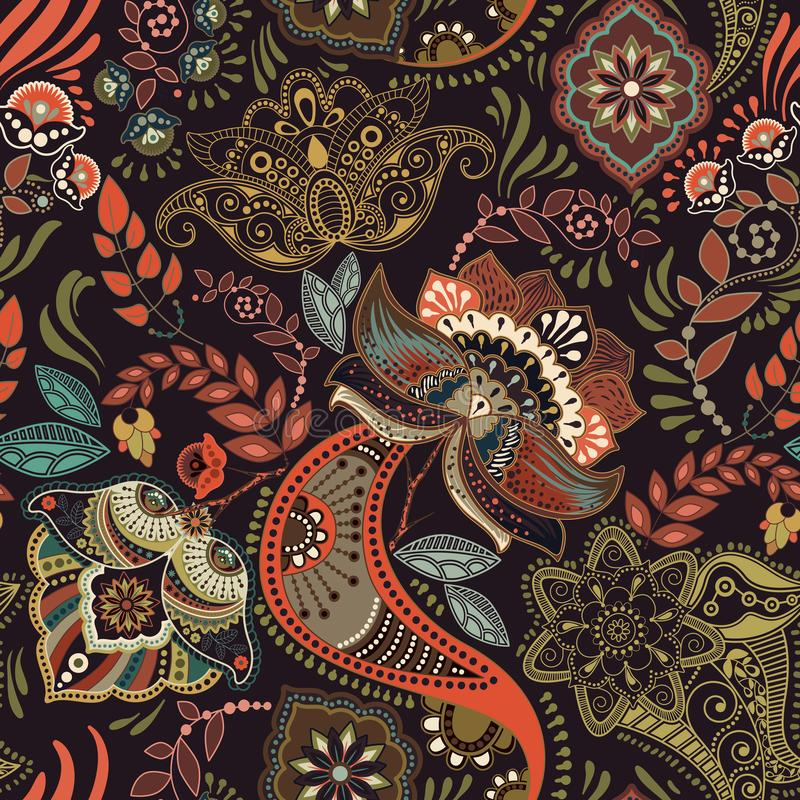 seamless tappning för blom- modell Retro växtstil Paisley motiv Färgrik damast prydnad stock illustrationer