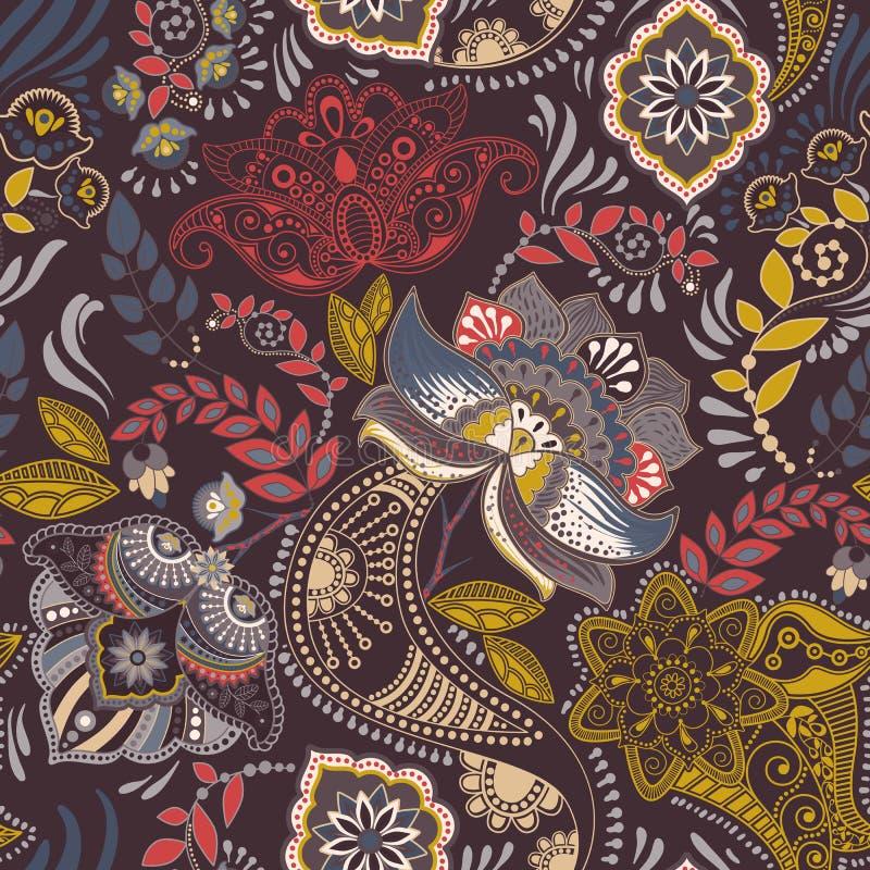 seamless tappning för blom- modell Retro växtstil Paisley motiv Färgrik damast prydnad vektor illustrationer