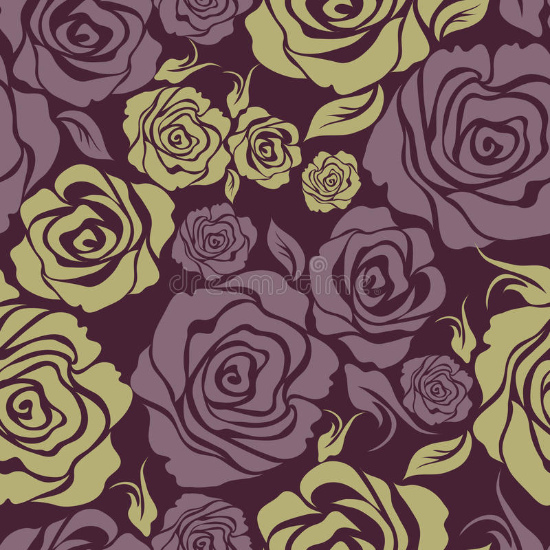 seamless tappning för blommamodellrose royaltyfri illustrationer