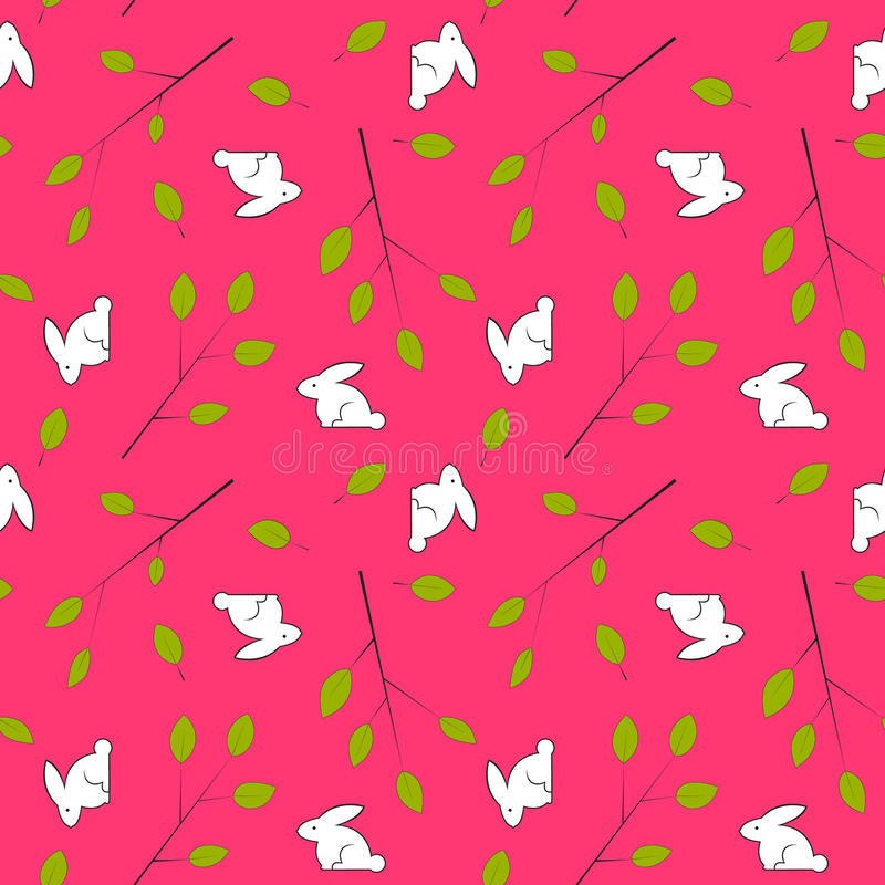 Seamless tappning texturerar med leafs och kaniner. royaltyfri illustrationer