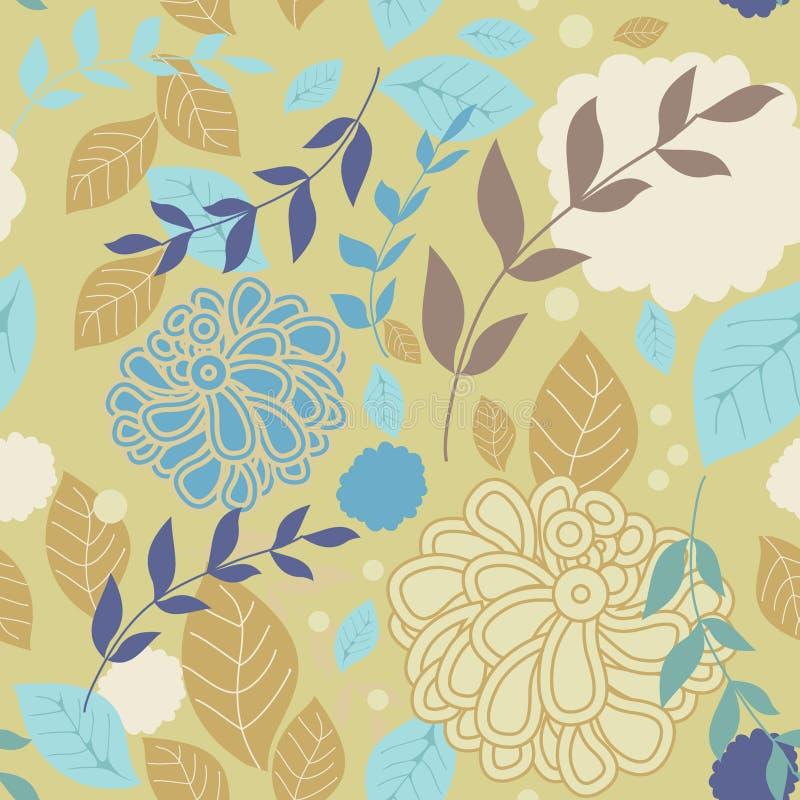 Seamless tappningbakgrund med och blommor royaltyfri illustrationer
