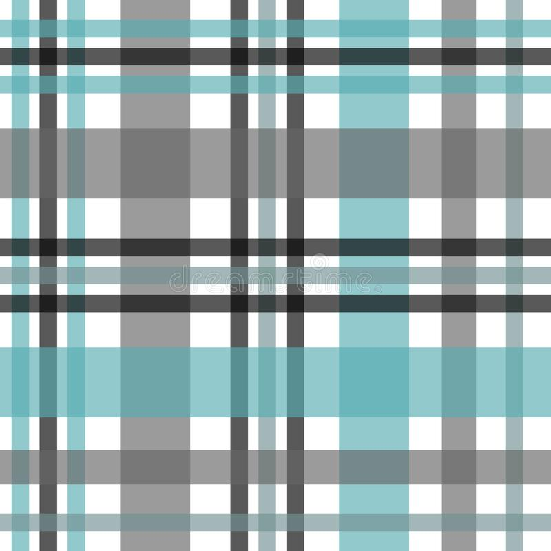 Seamless tartan plaid pattern. Checkered fabric texture print in stripes of bright blue, teal black, teal blue and white. vector illustration