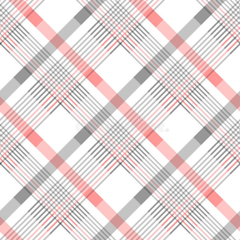 Seamless tartan plaid pattern in stripes of red, black and white. Checkered twill fabric texture. Vector swatch for digital textil vector illustration