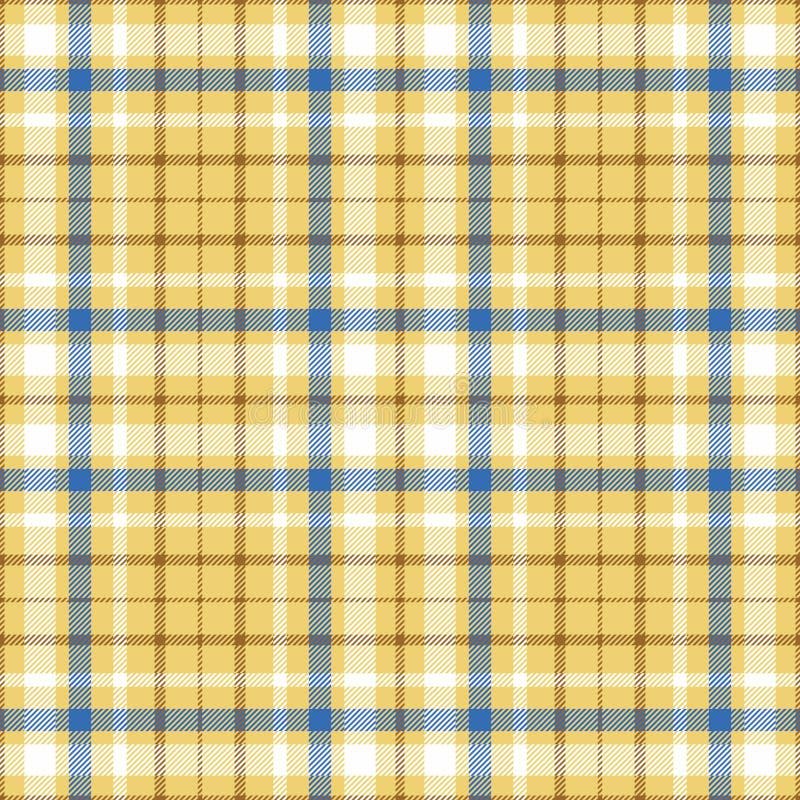 Seamless tartan plaid pattern in white, blue & brown twill stripes on golden sand yellow undercheck background. royalty free stock photo