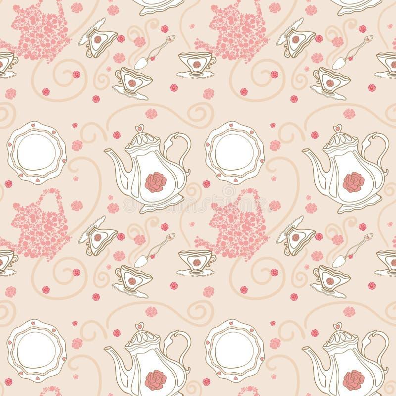 Seamless Tea Pattern Stock Images