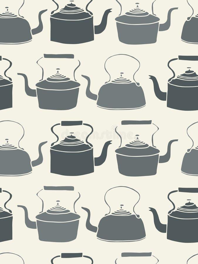seamless teapot för bakgrund vektor illustrationer