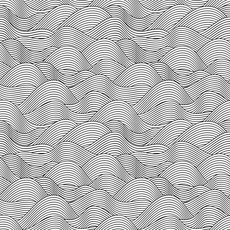 Seamless tecknad modell för wave hand Göra sammandrag tappning stock illustrationer